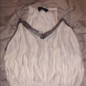 Grey lace white tank top